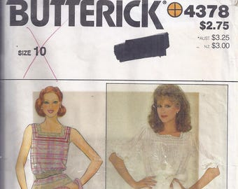 Butterick Sewing Pattern 4378 from the 1980's.   Misses Top and Flared Skirt.  UNCUT, Bust 32 1/2