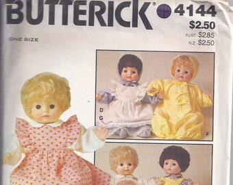 "Butterick 4144 Sewing Pattern.  Baby Doll wardrobe 16"" Doll  UNCUT"