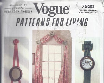 VOGUE 7930 Sewing Pattern from 1990, Wall Hanging Bows, Window Treatments, Home, Decorating, UNCUT