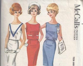 1962 McCalls 6367 Vintage Sewing Pattern, Junior Two Piece Dress, Slim Skirt, Bust 30 1/2, Jackie O, Wiggle Skirt, Sleeveless Top