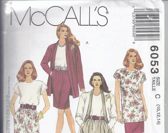 McCalls #6053 EASY Misses Unlined Cardigan, Tunic or Top, Skirt and Pants - 2 Lengths  Non-Stop Wardrobe. Bust 32 1/2-36 UNCUT