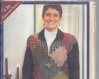 The Quilted Closet # 501 from 1998:  Steppin' Up Zippered Jacket Sizes X-Small to X Large  Courthouse Steps Quilt Block  UNUSED