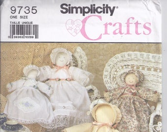 "Simplicity Crafts 9735 from 1990  Heirloom Soft doll pattern:  18"" and 12"" doll and  outfits, dresses.  UNCUT"