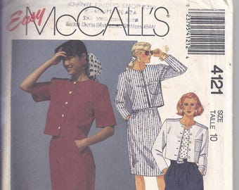 McCalls 4121 Sewing Pattern, 1989,  Unlined Jacket, Skirt, Pants or Shorts  Bust 32 1/2  Classic style, Easy pattern