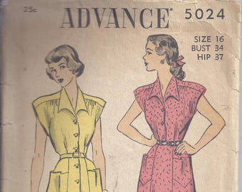 Advance Pattern #5024 From 1948.  Misses Dress with Belt.  Bust 34