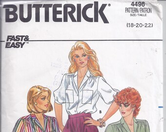 Butterick Sewing Pattern # 4496 from 1986  Misses Loose fitting Blouse with notched collar.   Bust 40-44   Classic style