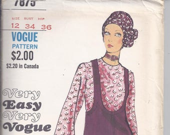 Vogue # 7875 from 1970.   Misses Jumper and Blouse.  Bust 34  UNCUT  Very Easy