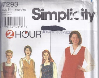 Simplicity Pattern # 7293 from 1996  Misses Jumper, princess seames, flared.   Bust 40-46  Two Hour  UNCUT