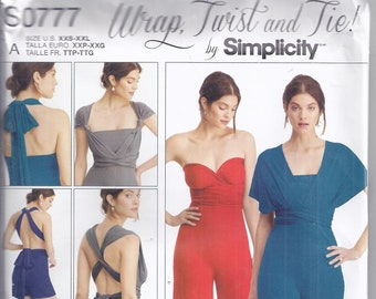 dd5ba7909da Simplicity Sewing Pattern S0777 from 2016. Misses Knit Wrap and Tie Jumpsuit  with variations. Sizes XXS-XXL. UNCUT.