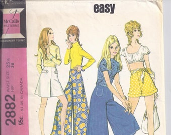 McCalls Pattern #2882 from 1971  Misses  Pants, Gauchos and Shorts.   Waist 25 1/2  UNCUT  Easy Pattern