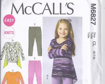 95ee2b0ab7577 McCall s M6827 Sewing Pattern from 2013. Easy Pattern. Girls Tops and  Leggings for Knits. Breast 25-27 UNCUT