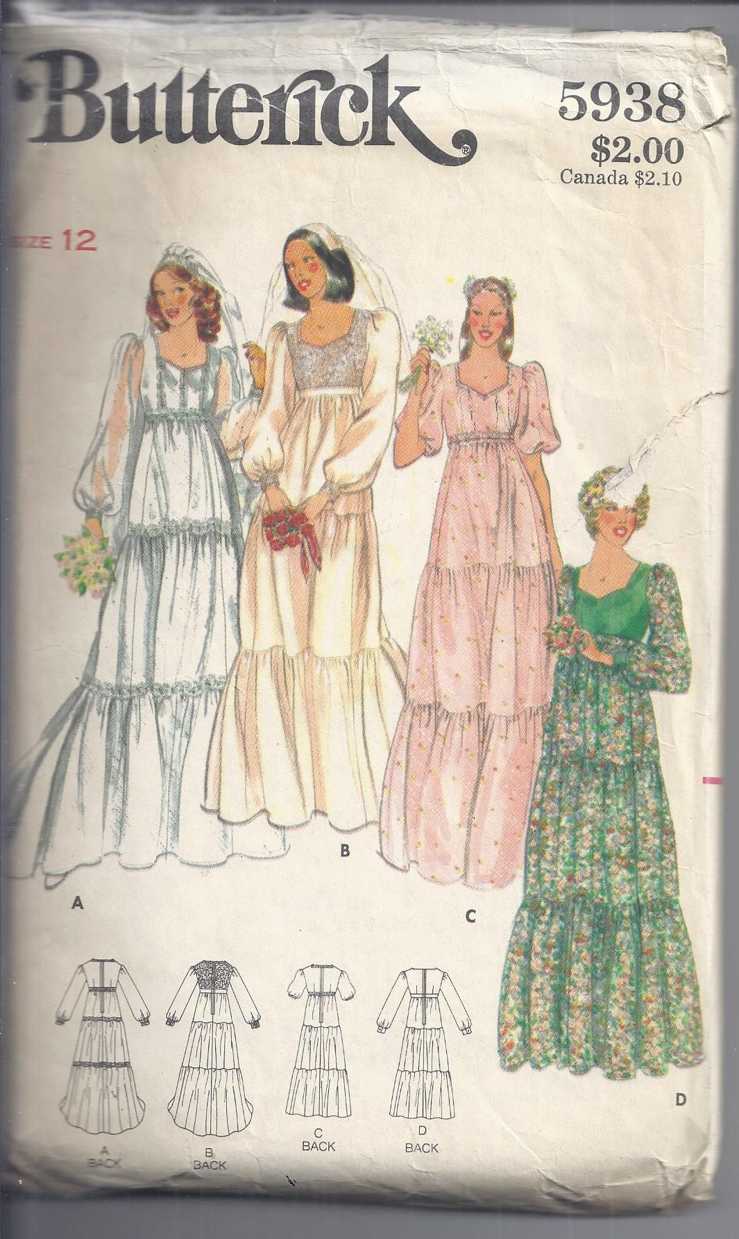 Vintage 1970\'s Butterick 5938 Sewing Pattern: Bridal Gown and ...