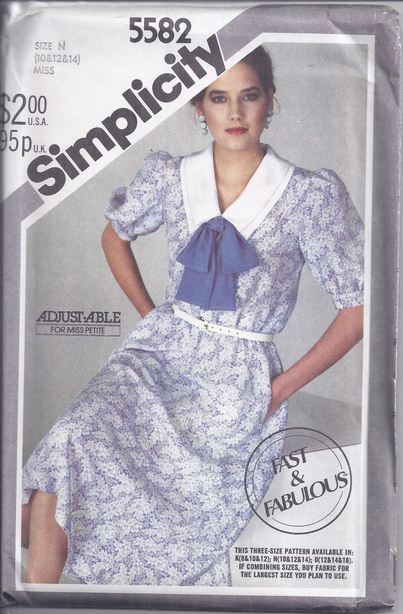 Simplicity Sewing Pattern 5582 from 1982.  Misses' Fast & image 0