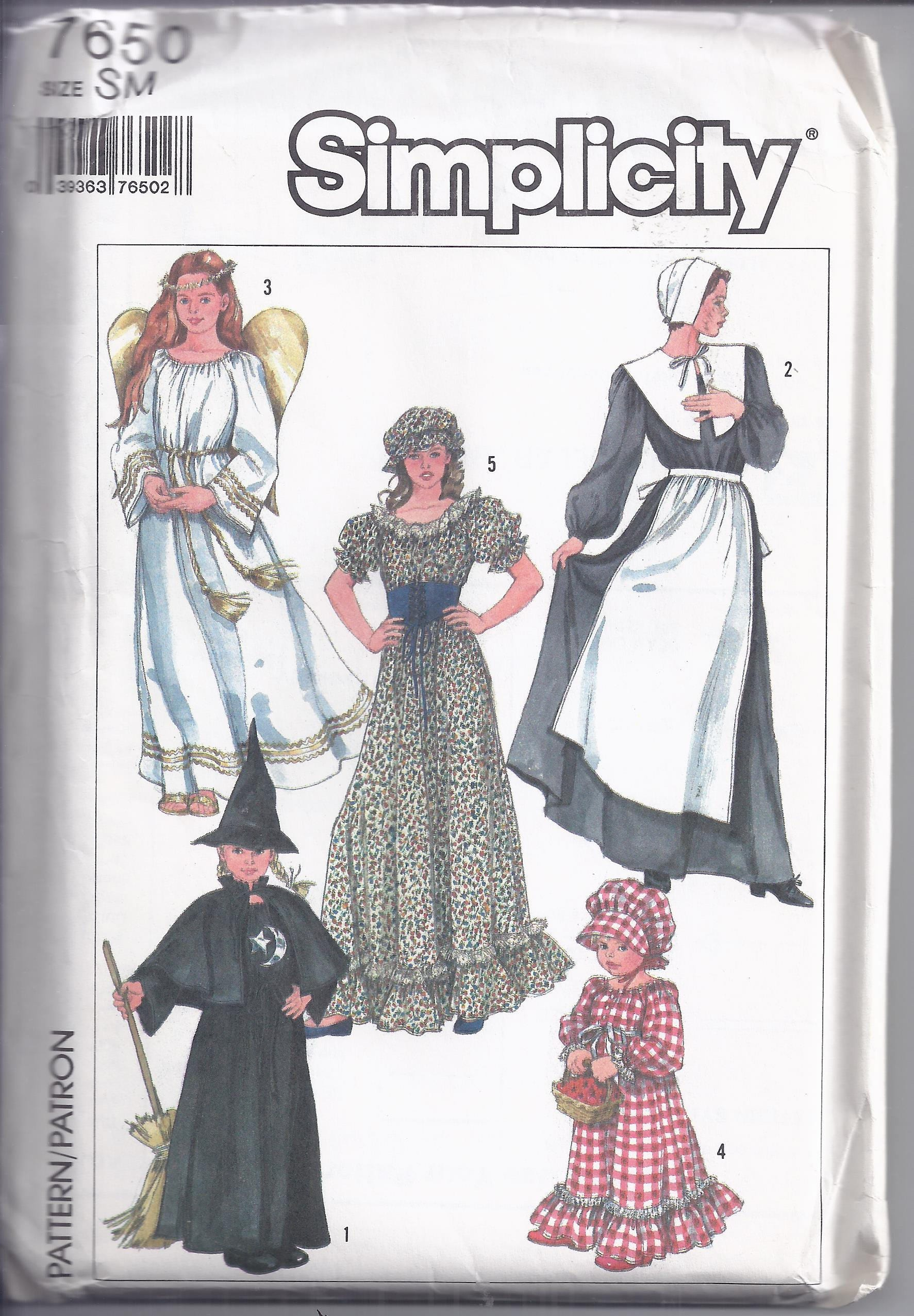 Simplicity Pattern # 7650 from 1986. Misses Costumes Angel WitchPilgrim Prairie. Bust 32 1/2 -34 UNCUT  sc 1 st  Enhancements Costume Supply & Simplicity Pattern # 7650 from 1986. Misses Costumes: Angel Witch ...