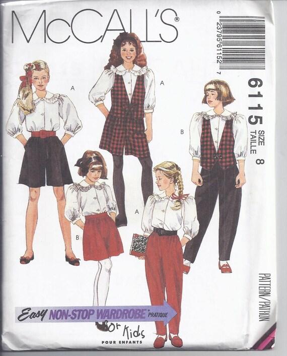 Solía 6115 costura patrón de 1992 de la muchacha forrado | Etsy