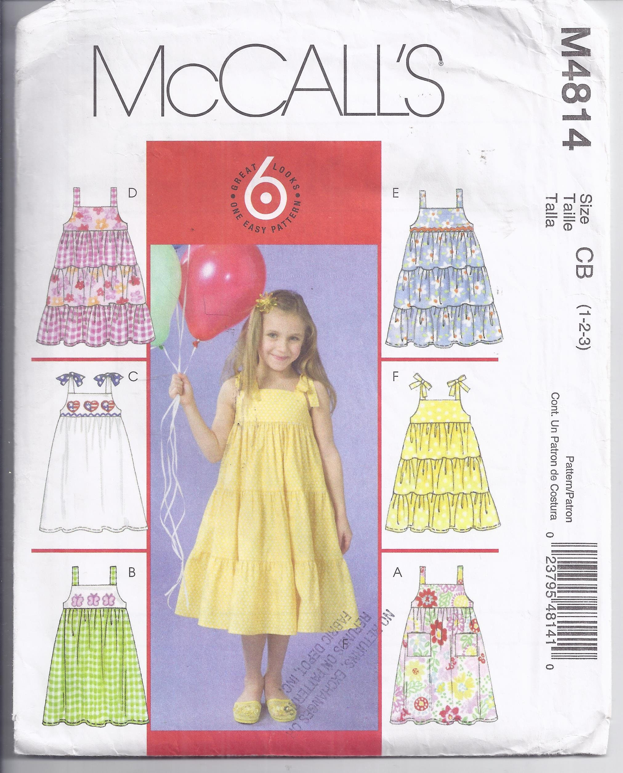 McCall's M4814 Sewing Pattern from 2005  Easy Pattern Girls Pullover Flared  Sun Dress Breast 20-22