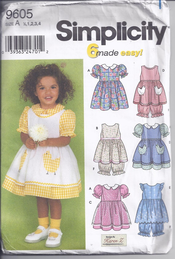 Simplicity 9605 Sewing Pattern from 2001. Toddlers Dress | Etsy
