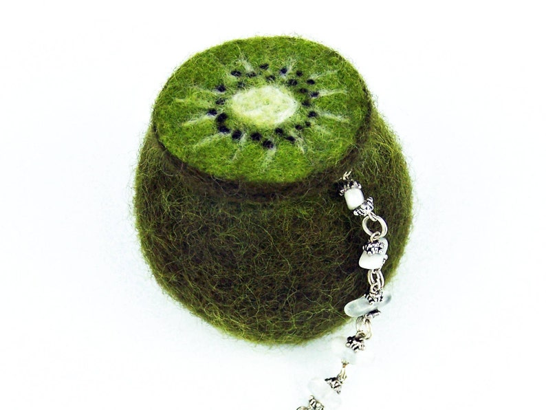 Gift for her. Jewelry box kiwi fruit felted