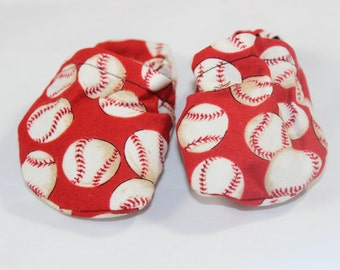 Baseball booties, cloth booties, baby booties, soft soled shoes, baby footwear, cloth moccasins, child shoes, baseballs