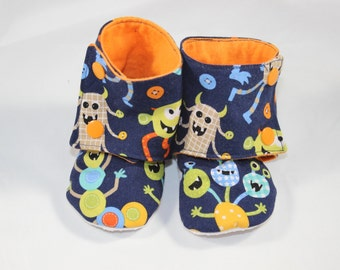 Monster Boots, cloth booties, baby booties, soft soled shoes, baby footwear, cloth moccasins, child shoes, tula accessories