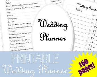 printable wedding planner 2 160 pages wedding checklist etsy