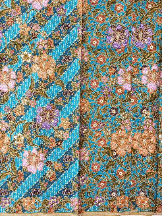 Wrap Skirt Ratna Dewi Cotton Sarong Fabric Teal Green Sarong Swim Cover up Indonesian Batik Printed Style Sarong