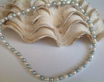 Pearl Necklace. White. Blue. Sterling Silver. Gift. Wedding