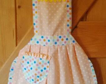 Pretty 'Peach polkadot' handmade Children's apron
