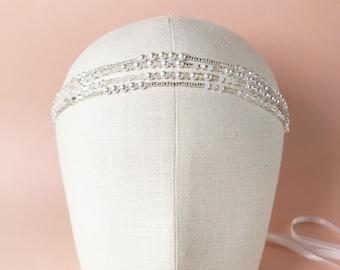 Bridal crystal and pearl headband, Summer Wedding beaded necklace, Boho wedding headpiece, Wedding crystal hair accessory. Style: #2020.