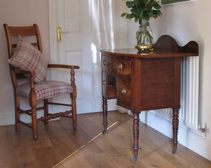 19thC Mahogany Bow-Fronted Low Boy with Turned & Tapering Legs