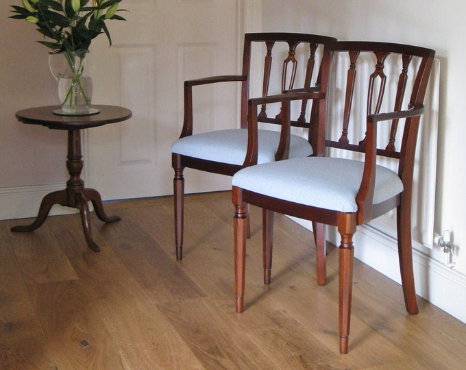 Pair of Regency Style Mahogany Carver Dining Chairs