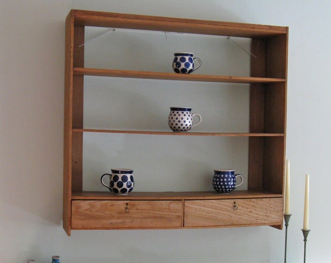 19thC Elm or Beech Wall-Hung Shelves with 2 Drawers
