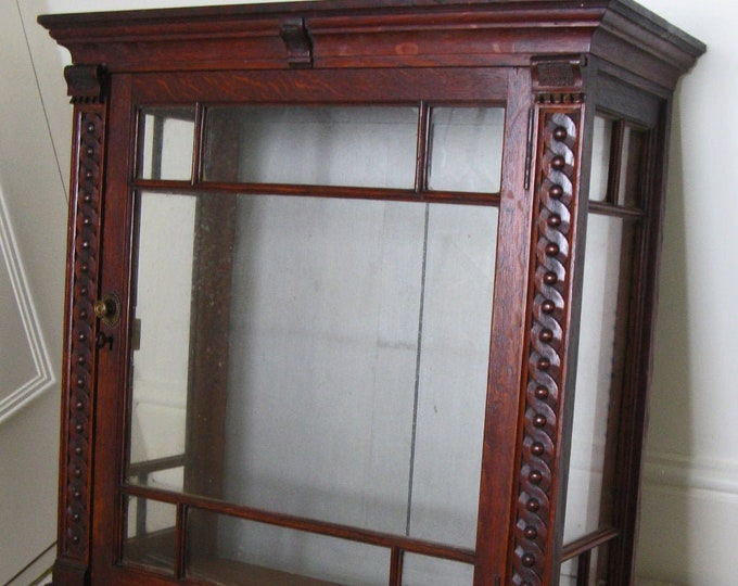 Early 20thC Stained Oak Wall-Hung Cabinet w. Astragal Glazed Door