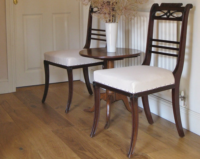 Pair of Early 20thC French Mahogany Regency Style Side Chairs
