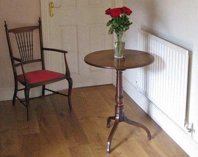 Late Georgian Mahogany Circular Tilt-Top Table with Tripod Base