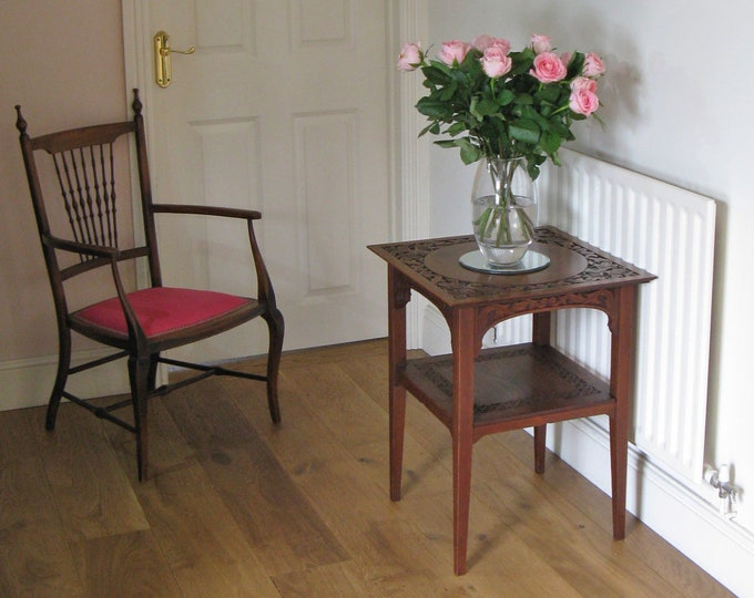 Late Victorian 2-Tier Square Carved Walnut Occasional Table