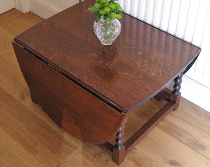 Large 19thC Style Stained Oak Gateleg Coffee Table