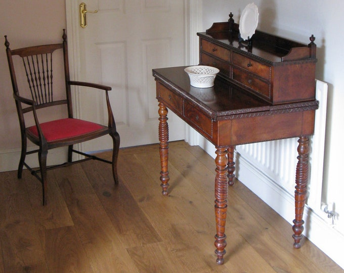 Late 19thC Mahogany Writing or Games Table with Bank of Drawers