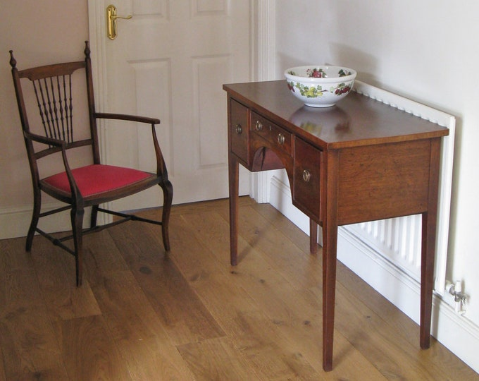 19thC Mahogany 3-Drawer Dressing or Side Table