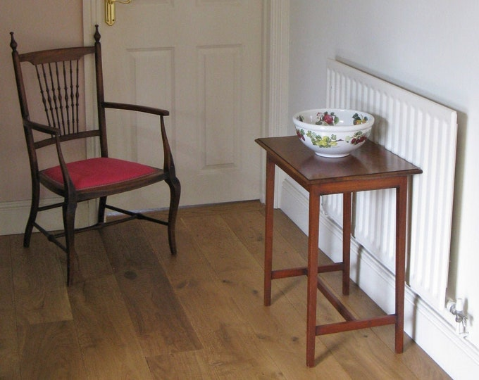 Early 20thC Small Mahogany Side Table with H-Stretcher