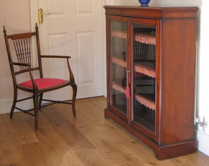 Late Victorian Walnut Glazed 2-Door Cabinet Bookcase