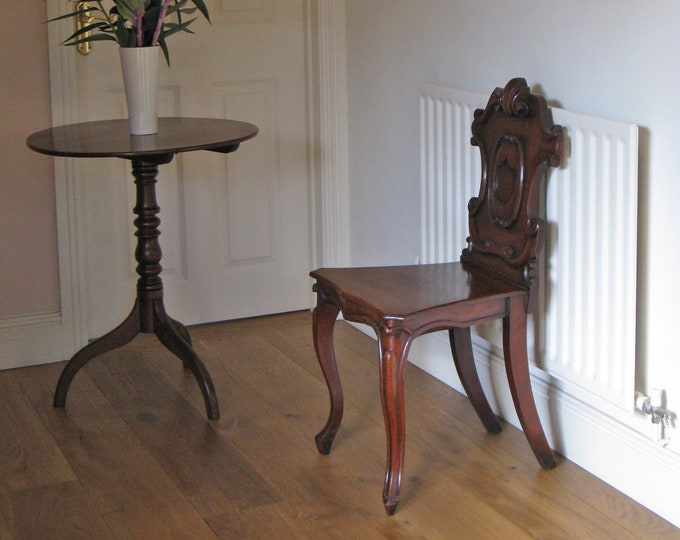 Victorian Mahogany Hall Chair with Armorial Carved Back