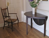 George III Stained Oak Demi-Lune Table with Later Drop-Leaf