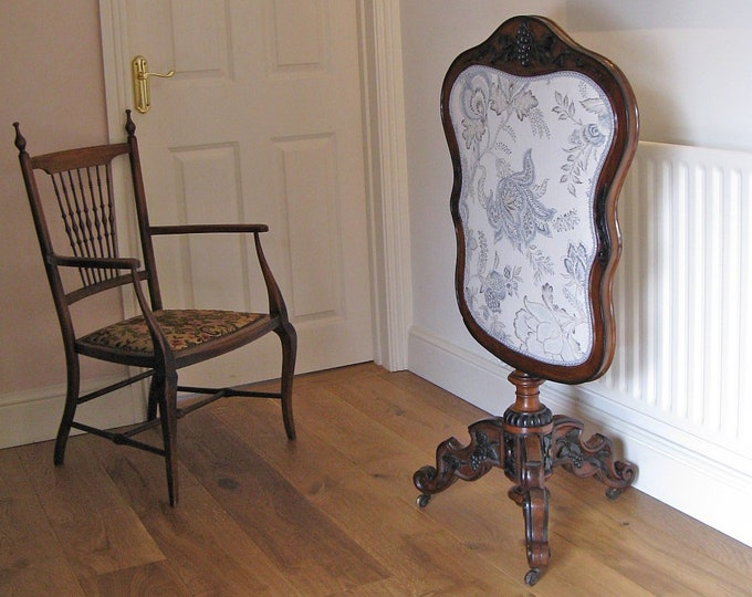 Victorian Mahogany & Upholstered Fire Screen on Tripod Base