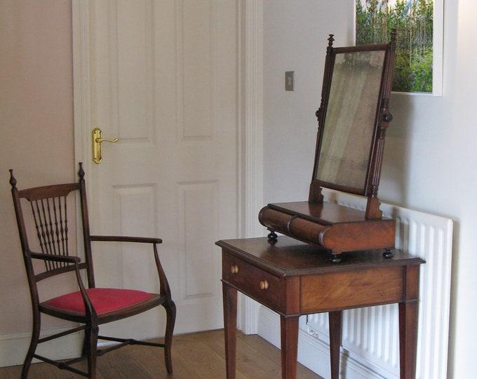 William IV Mahogany Toilet Swing Mirror on Cushion Base & Bun Feet