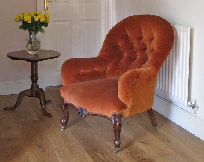 Victorian Walnut & Button Upholstered Lady's Easy Chair