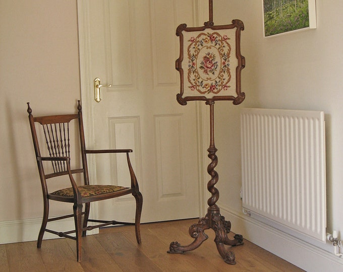 Victorian Walnut Pole Screen on Spiral Shaft & Tripod Base