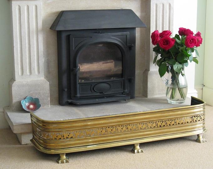 Regency or Early Victorian Pierced Brass Fireplace Fender