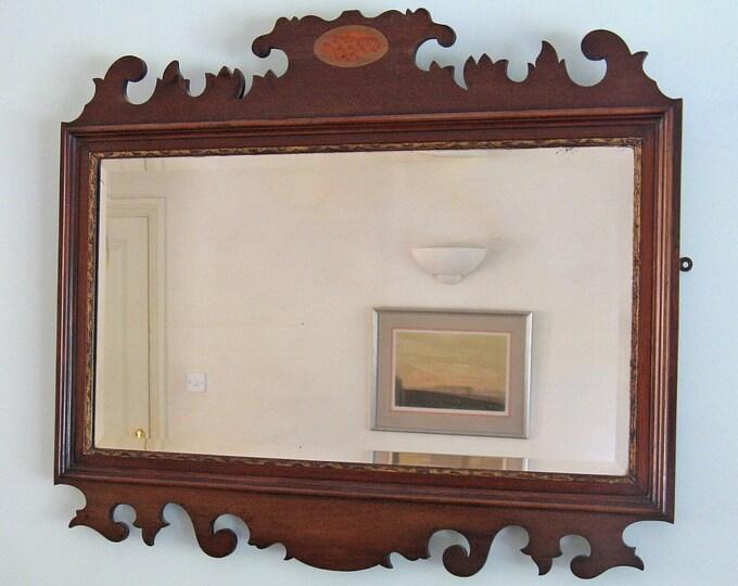 Georgian Revival Mahogany Framed Fret-Cut Wall Mirror