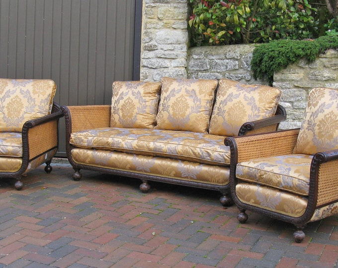 3-Piece Continental Art Deco Bergere Lounge Suite from c1920s